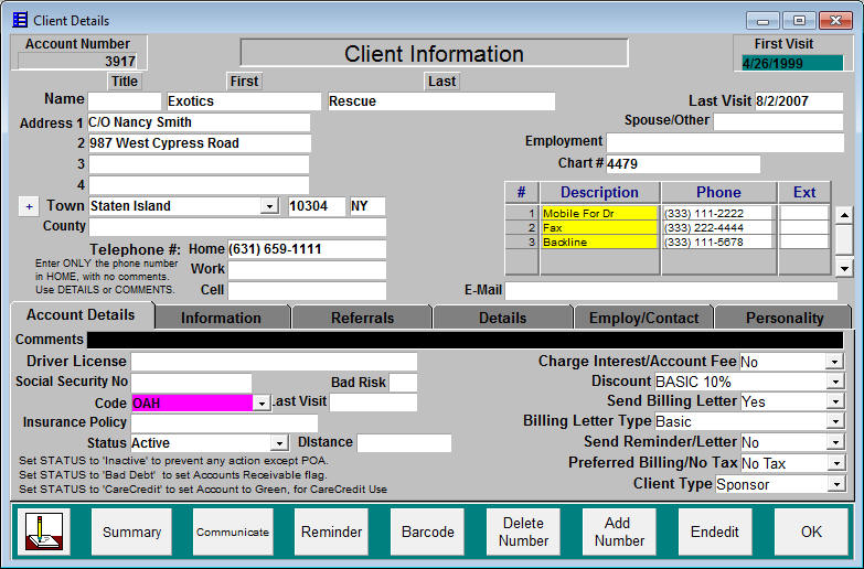 AHMS Client Information Screen