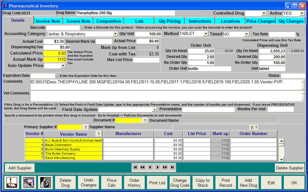 Our Pharmaceutical Inventory Screen